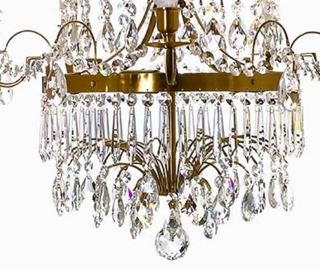 5 arm swedish crystal chandelier in amber coloured brass with plume shaped crystal bottom gustavian style treniq 1 1522532452636
