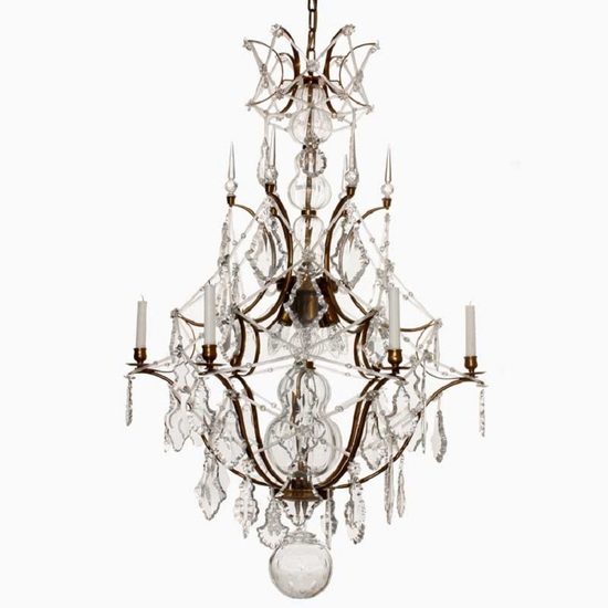 6 arm rococo crystal chandelier in amber coloured brass with crystal pendeloques gustavian style treniq 1 1522573252320