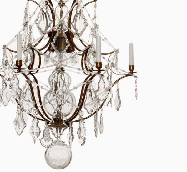 6 arm rococo crystal chandelier in amber coloured brass with crystal pendeloques gustavian style treniq 1 1522573252342