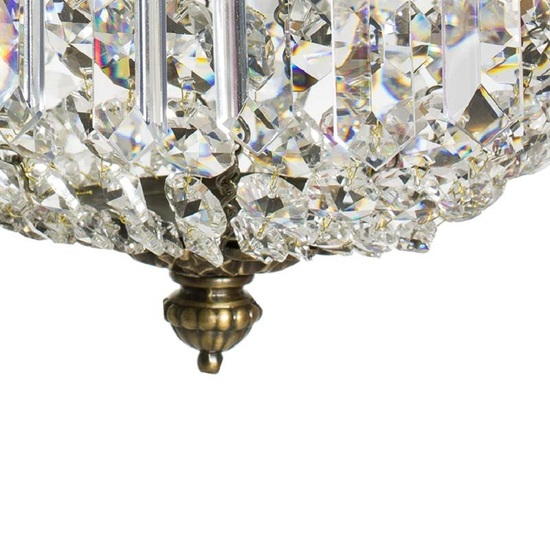 Swedish crystal chandelier in dark brass with basket shaped crystal bottom gustavian style treniq 1 1522573405126