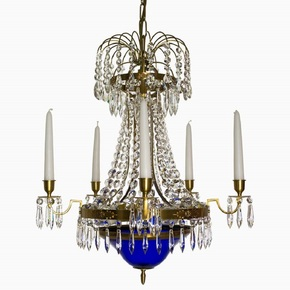 Swedish-Crystal-Chandelier-In-Amber-Coloured-Brass-With-Basket-Shaped-Coloured-Glass-Bottom_Gustavian-Style_Treniq_0