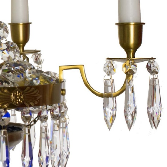 Swedish crystal chandelier in amber coloured brass with basket shaped coloured glass bottom gustavian style treniq 1 1522573592112
