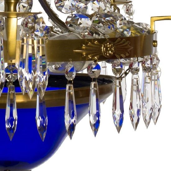 Swedish crystal chandelier in amber coloured brass with basket shaped coloured glass bottom gustavian style treniq 1 1522573592184