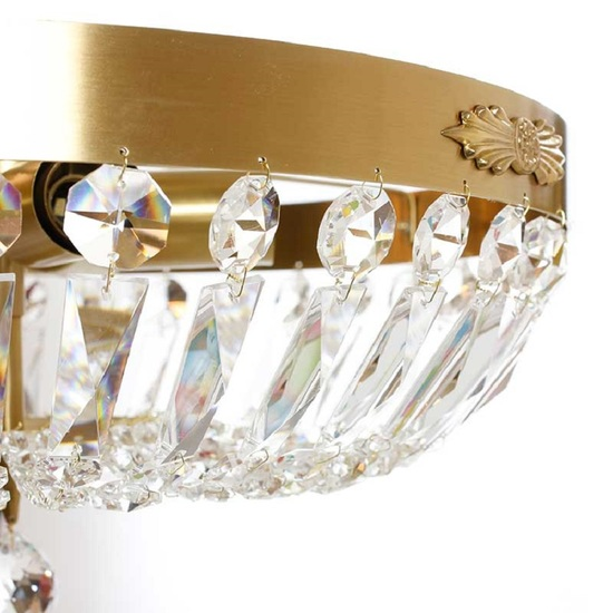Crystal plafond chandelier in amber coloured brass with basket shaped crystal bottom gustavian style treniq 1 1522573952596