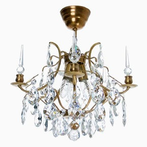 Crystal-Plafond-Chandelier-In-Amber-Coloured-Brass-With-Crystals_Gustavian-Style_Treniq_0