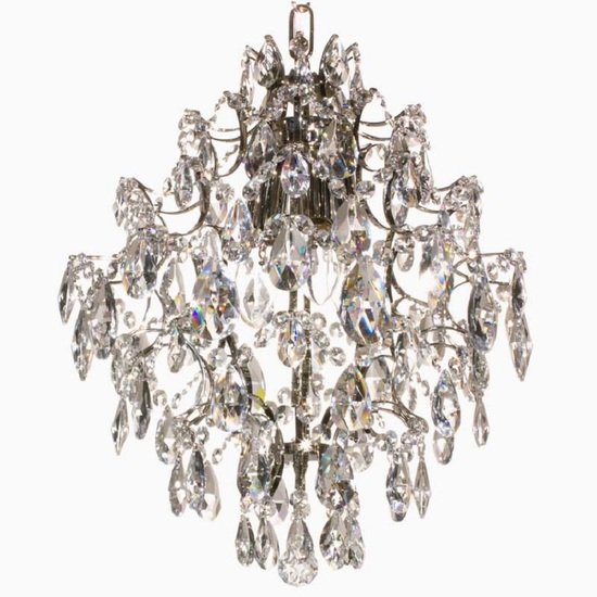 Crystal chandelier in nickel plated brass with crystals gustavian style treniq 1 1522575136714
