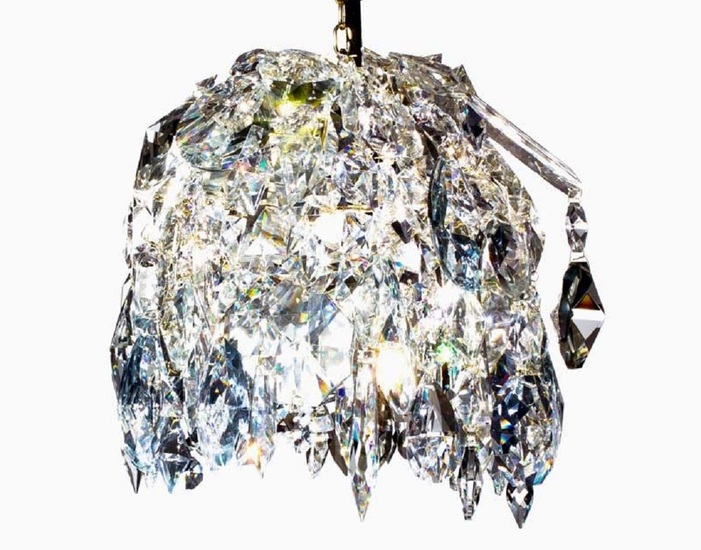Crystal pendant chandelier in polished brass with crystals gustavian style treniq 1 1522575178036