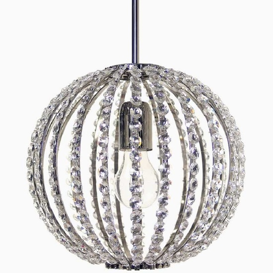 Spherical crystal chandelier in nickel plated brass with crystal octagons gustavian style treniq 1 1522575294342