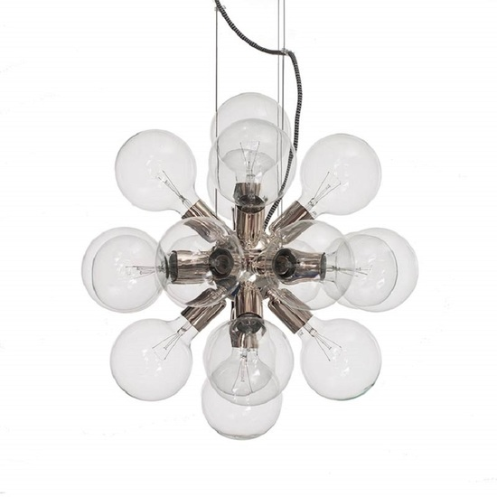 Modern glass chandelier in nickel plated brass with 18 clear halogen bulbs gustavian style treniq 1 1522576617482