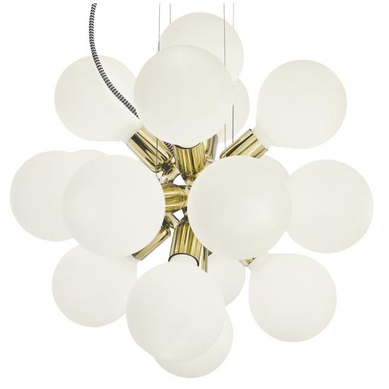 Modern glass chandelier in polished brass with 18 white halogen bulbs gustavian style treniq 1 1522576660032
