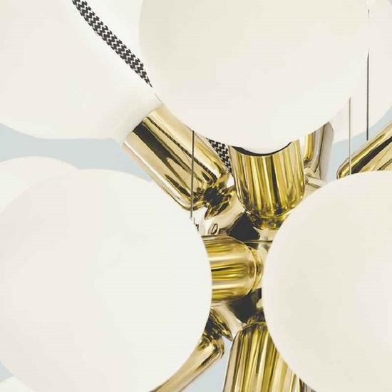 Modern glass chandelier in polished brass with 18 white halogen bulbs gustavian style treniq 1 1522576660082