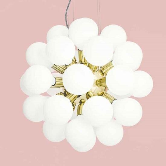 Modern glass chandelier in polished brass with 34 white halogen bulbs gustavian style treniq 1 1522576704362