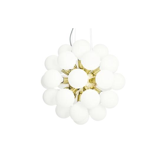 Modern glass chandelier in polished brass with 34 white halogen bulbs gustavian style treniq 1 1522576704340