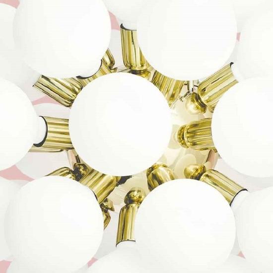 Modern glass chandelier in polished brass with 34 white halogen bulbs gustavian style treniq 1 1522576704414