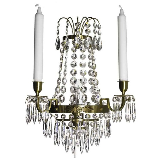 Empire style wall sconce in amber coloured brass gustavian style treniq 1 1522621403132