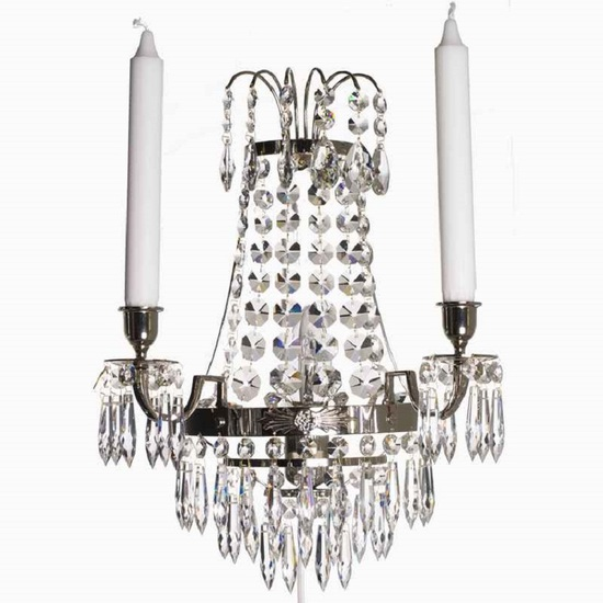 Empire style wall sconce in nickel plated brass gustavian style treniq 1 1522621556400