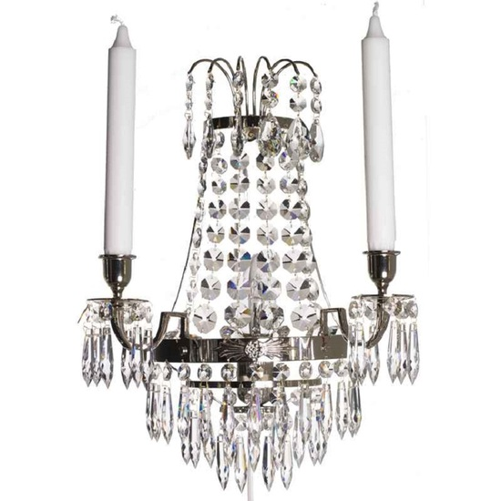 Empire style wall sconce in nickel plated brass gustavian style treniq 1 1522621556326