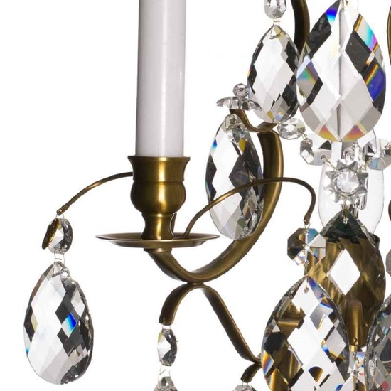 Rococo style wall sconce in amber coloured brass with almond shaped crystals gustavian style treniq 1 1522621783056