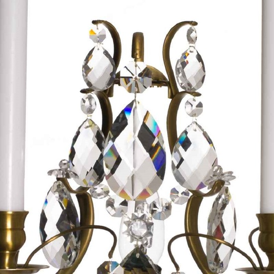 Rococo style wall sconce in amber coloured brass with almond shaped crystals gustavian style treniq 1 1522621783100