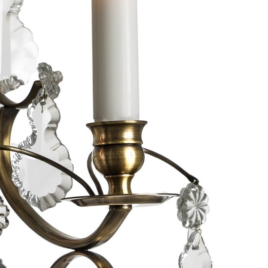 Rococo style wall sconce in dark brass with pendeloque crystals gustavian style treniq 1 1522621935044