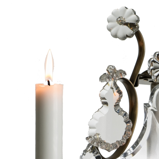 Rococo style wall sconce in dark brass with pendeloque crystals gustavian style treniq 1 1522621935080
