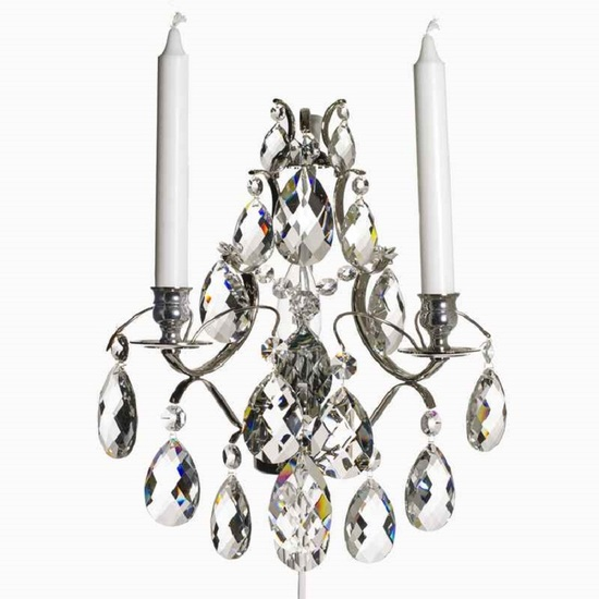 Rococo style wall sconce in nickel plated brass with almond shaped crystals gustavian style treniq 1 1522622017124