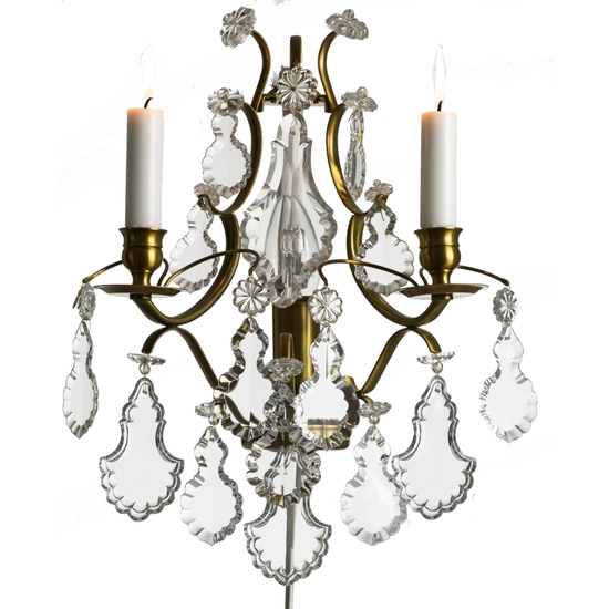 Rococo style wall sconce in amber coloured brass with pendeloque shaped crystals gustavian style treniq 1 1522622084040