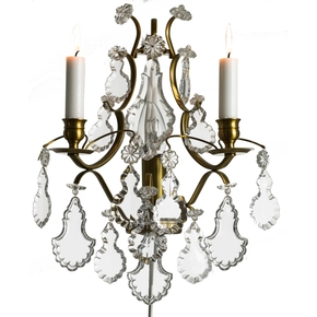 Rococo-Style-Wall-Sconce-In-Amber-Coloured-Brass-With-Pendeloque-Shaped-Crystals_Gustavian-Style_Treniq_0
