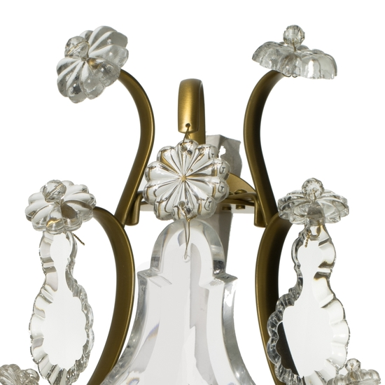 Rococo style wall sconce in amber coloured brass with pendeloque shaped crystals gustavian style treniq 1 1522622084150