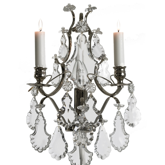Rococo style wall sconce in nickel plated brass with pendeloque shaped crystals gustavian style treniq 1 1522622166770