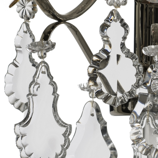 Rococo style wall sconce in nickel plated brass with pendeloque shaped crystals gustavian style treniq 1 1522622166788