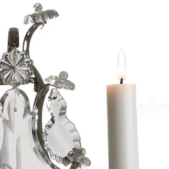 Rococo style wall sconce in nickel plated brass with pendeloque shaped crystals gustavian style treniq 1 1522622166826