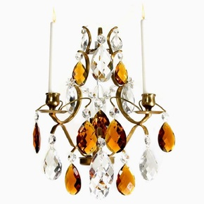 Rococo-Style-Wall-Sconce-In-Amber-Coloured-Brass-With-Amber-Coloured-Crystals_Gustavian-Style_Treniq_0