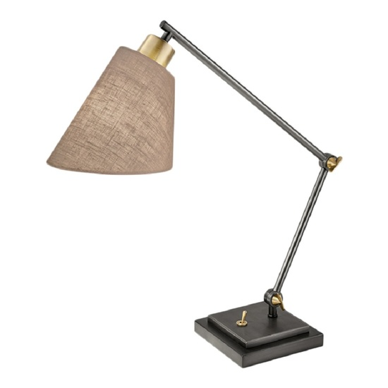 Desk lamp in black bronze and polished brass gustavian style treniq 1 1522669852040
