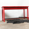 George bright red stained new pine bar or dining table with distressed zinc carla muncaster treniq 1 1522917847975