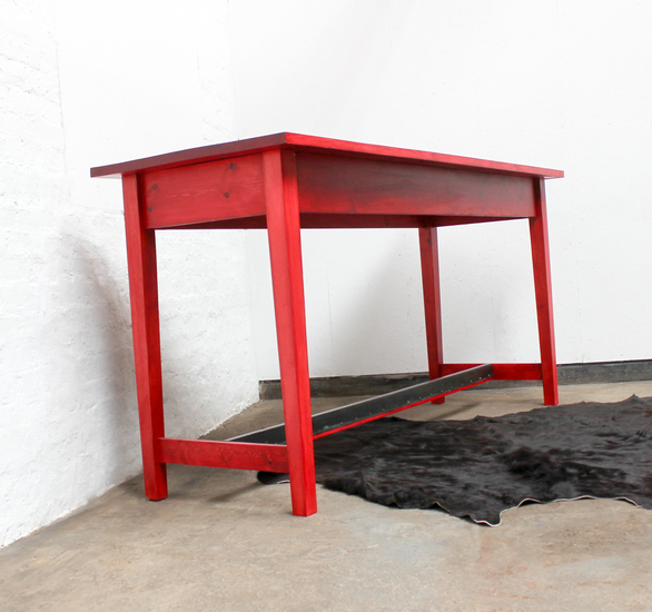 George bright red stained new pine bar or dining table with distressed zinc carla muncaster treniq 1 1522917847976