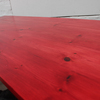 George bright red stained new pine bar or dining table with distressed zinc carla muncaster treniq 1 1522917865048