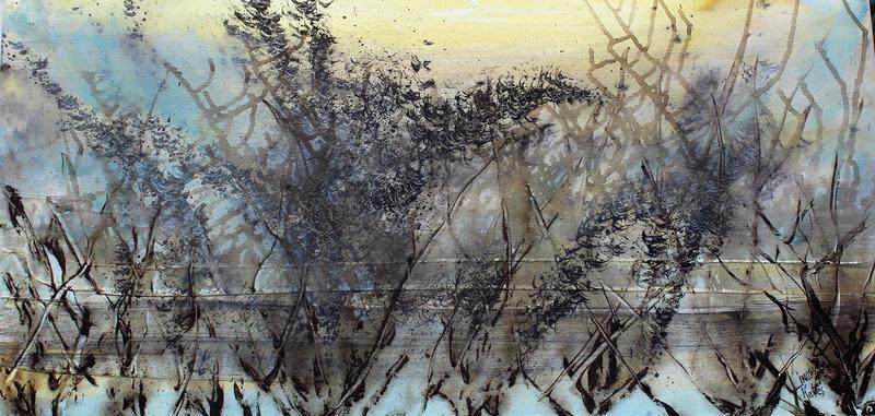 Skyfall mist semi abstract painting 20 x 40%22 lindsey keates environmental artist  treniq 1 1523202911415
