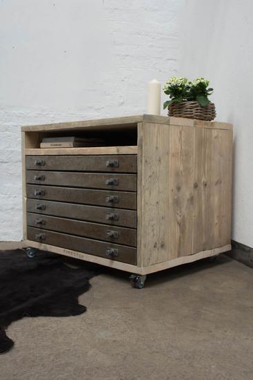 Faraz recycled scaffolding   distressed steel plan chest on locking castors carla muncaster treniq 1 1523972819384