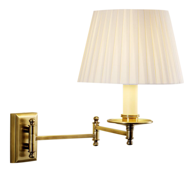 Antique brass wall light with pleated shade gustavian style treniq 2 1524222528648