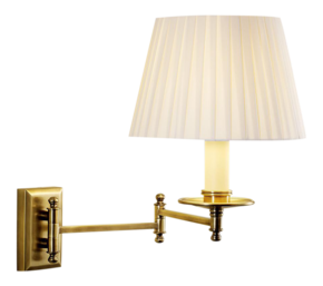 Antique-Brass-Wall-Light-With-Pleated-Shade_Gustavian-Style_Treniq_0