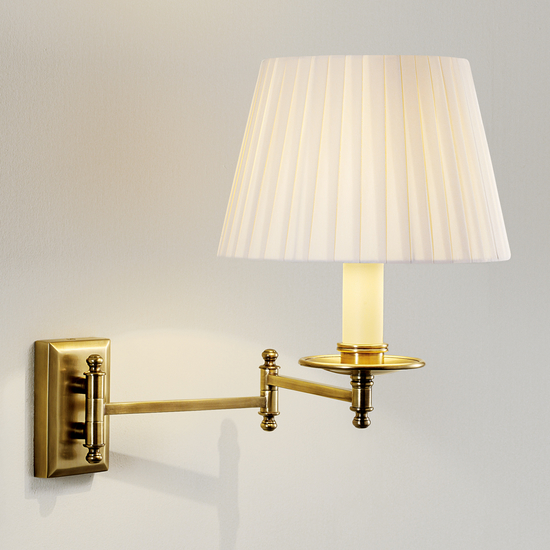 Antique brass wall light with pleated shade gustavian style treniq 2 1524222543430