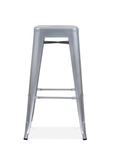 Bistro bar stool silver grey metal  set of four cielshop treniq 1 1525180449440