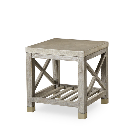 Percival side table shagreen top champagne shagreen   grey washed  sonder living treniq 1 1526644088715