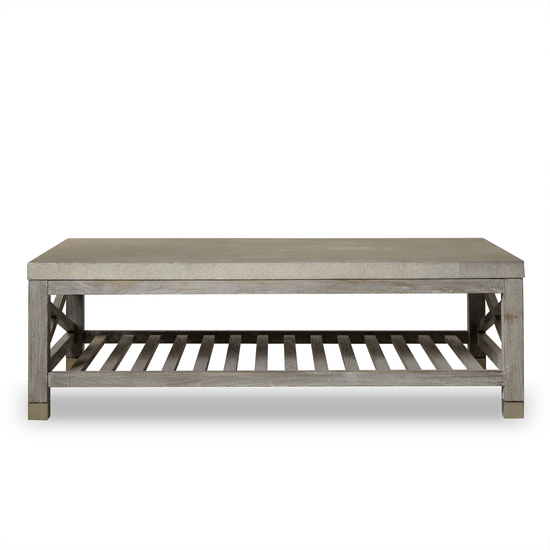 Percival coffee table shagreen top champagne shagreen   grey washed  sonder living treniq 1 1526644150642