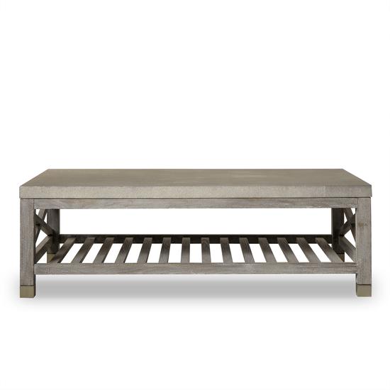 Percival coffee table shagreen top champagne shagreen   grey washed  sonder living treniq 1 1526644150646