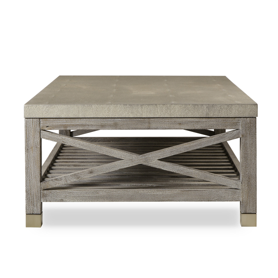 Percival coffee table shagreen top champagne shagreen   grey washed  sonder living treniq 1 1526644150649