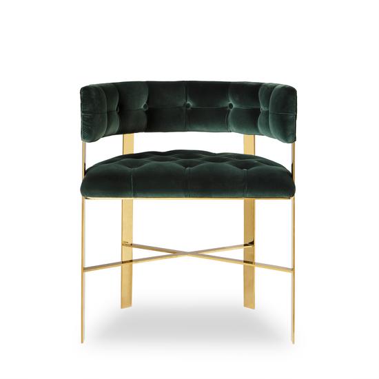 Art dining arm chair tufted green velvet mirrored brass  sonder living treniq 1 1526882529813