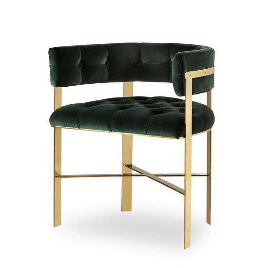 Art dining arm chair tufted green velvet mirrored brass  sonder living treniq 1 1526882529797