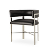 Art dining chair black leather stainless steel  sonder living treniq 1 1526882761023